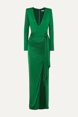 Alice + Olivia Kyra Wrap-effect Ruched Stretch-jersey Maxi Dress - Forest green