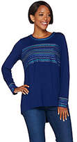 C. Wonder Long Sleeve Embroidered Knit Topwith Pleating