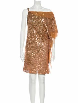 Jenny Packham One-Shoulder Mini Dress Gold