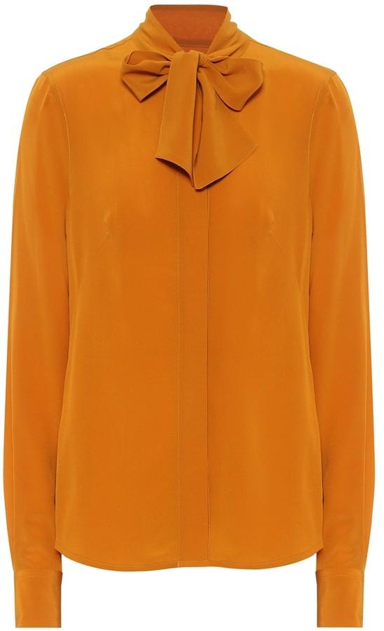 Victoria Beckham Tie-neck silk-crepe blouse
