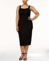 Melissa McCarthy Trendy Plus Size Scalloped Midi Sheath Dress
