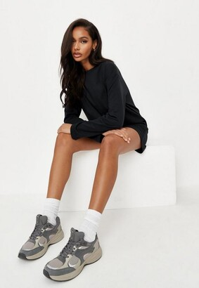 Missguided Black Basic Long Sleeve T Shirt Dress