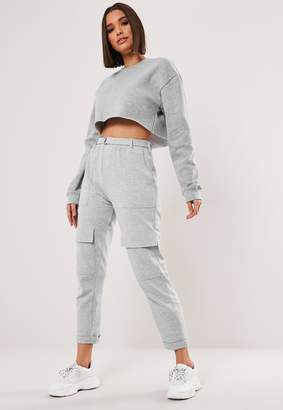 Missguided Grey D Ring Buckle Pocket Front Joggers