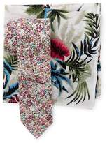 Original Penguin Dibley Floral Tie & Palm Pocket Square Box Set