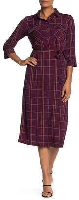 Donna Morgan Plaid Matte Jersey Midi Dress