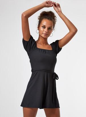 Miss Selfridge Black Bardot Rib Playsuit