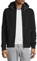 Moncler Puffer-Panel Front-Zip Sweater, Black