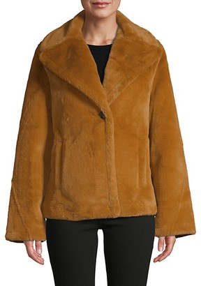 AVEC LES FILLES Faux Fur Single-Button Jacket