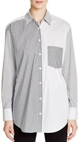 DKNY Pattern Block Stripe Button Down Shirt