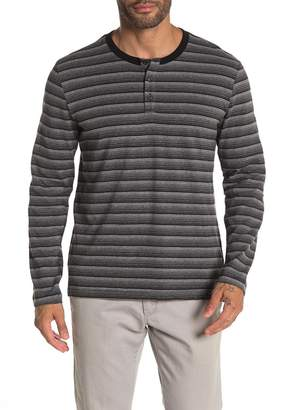 Kenneth Cole Long Sleeve Stripe Print Henley