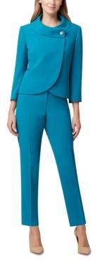 Tahari ASL Petite Envelope Collar Jacket & Straight-Leg Crepe Pants