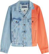 Off-White X Levi's Splice Trucker Denim Jacket with Contrast Sleeve