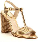 Louise et Cie Gabbin Metallic Leather T-Strap Block Heel Dress Sandals