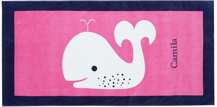 Pottery Barn Kids Pink/Navy Whale Beach Towel
