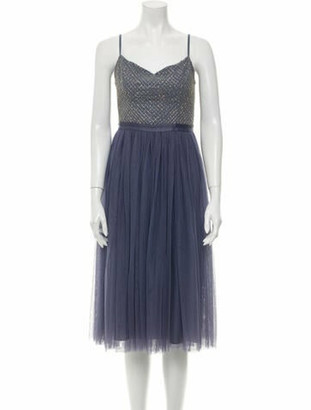 Needle & Thread V-Neck Knee-Length Dress Blue