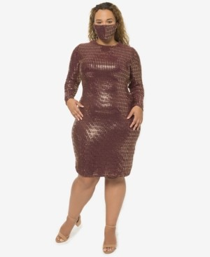 B. Darlin Trendy Plus Size Sequin Dress & Face Mask