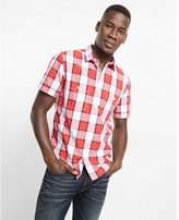 Express soft wash red and white plaid short sleeve shirt