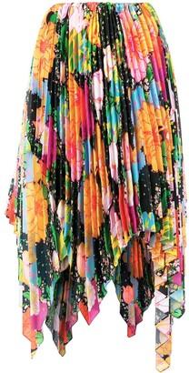 Richard Quinn Floral Print Asymmetric Pleated Skirt