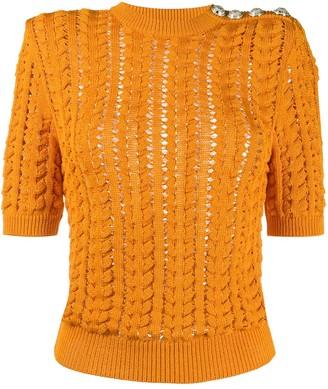 Balmain Knitted Short-Sleeve Jumper