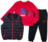 Puma Toddler Boy Quilted Vest, Tee & Jogger Pants Set