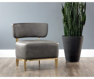 """Everly Quinn Deeter 25"""" Side Chair Upholstery Color: Gray"""