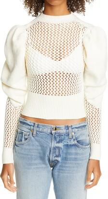 Isa Boulder Puff Sleeve Mesh Crop Sweater