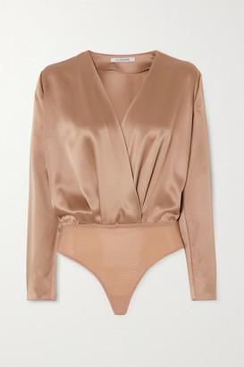 Cushnie Wrap-effect Silk-charmeuse Bodysuit - Sand