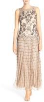 Pisarro Nights Embellished Mesh A-Line Gown (Regular & Petite)