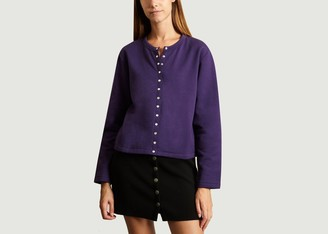 agnès b. Classic Cotton Cardigan - cotton   khaki   2 - Khaki/Violet
