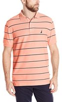 Nautica Men's Striped Performance Pique Polo Shirt