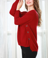 Couture Simply Women's Tunics RED - Red Grommet Toggle-Accent Tunic - Women & Plus