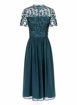 Dorothy Perkins Womens *Chi Chi London Teal Blue 3D Flower Midi Skater Dress, Teal
