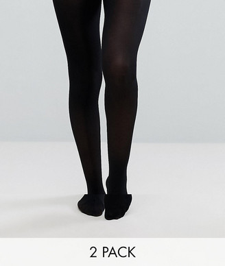 ASOS DESIGN 2 pack 40 denier black tights in recycled nylon