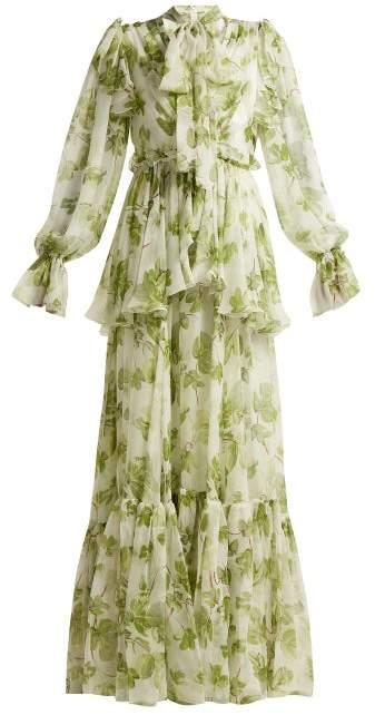 Dolce & Gabbana Leaf Print Chiffon Gown - Womens - Green Print