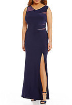 Morgan & Co. Plus Mesh Inset Long Dress
