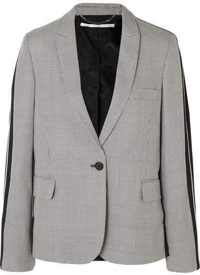 Stella McCartney Houndstooth Wool-tweed And Silk-twill Blazer - Gray