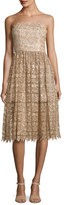 Alice + Olivia Alma Embellished Mid-Length Lace Party Dress