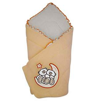 Camilla And Marc BlueberryShop Velour Baby Swaddle Wrap Bedding Blanket | Sleeping Bag for Newborns | Intended for Kids Aged 0-3 Months | Perfect as a Baby Shower Gift | 78 x 78 cm | Apricot