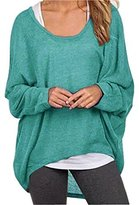 Uget Women's Casual Oversized Baggy Off-Shoulder Shirts Pullover Tops Asia XL