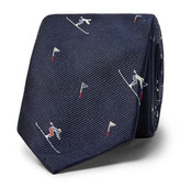 Thom Browne 6cm Skier-patterned Silk-jacquard Tie - Navy