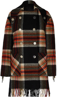 Calvin Klein + Pendleton Double-breasted Fringed Checked Wool Coat