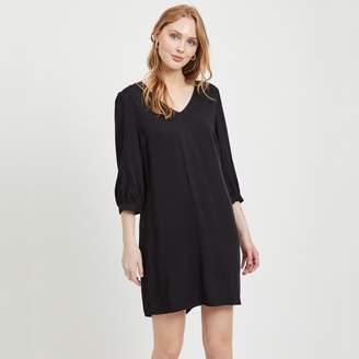Vila Short Shift Dress with V-Neck and Long Sleeves