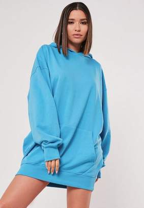 Missguided Blue Hooded Sweater Dress