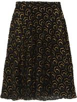 Co Flocked Metallic Silk-blend Skirt - Black