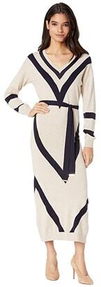 Ted Baker Bertta Chevron Detail Knitted Midi Dress (Natural) Women's Clothing