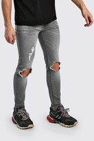 boohoo Mens Grey Skinny Jeans With Busted Knees, Grey