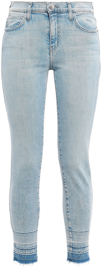 Thumbnail for your product : Current/Elliott Frayed High-rise Skinny Jeans