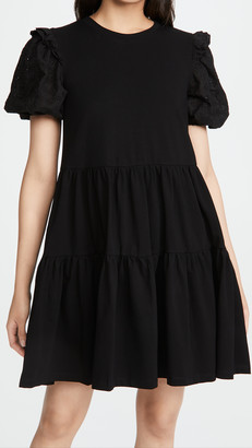 ENGLISH FACTORY Eyelet Sleeve Ruffled Dress