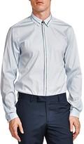 The Kooples Stripe Trim Poplin Slim Fit Button-Down Shirt