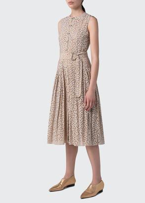 Akris Punto Devore Organza Dot Sleeveless Midi Dress